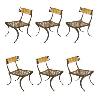 Set of 6 Klismos Chairs in Aluminum For Sale