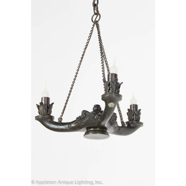 Black Restored Bronze Three Arm Whale Oil Chandelier For Sale - Image 8 of 10