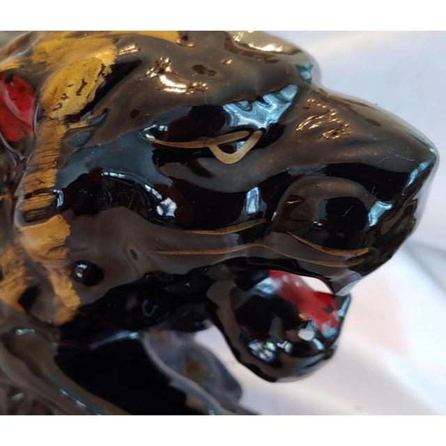 Mid Century Black & Gold Ceramic Lion Japan For Sale - Image 4 of 6