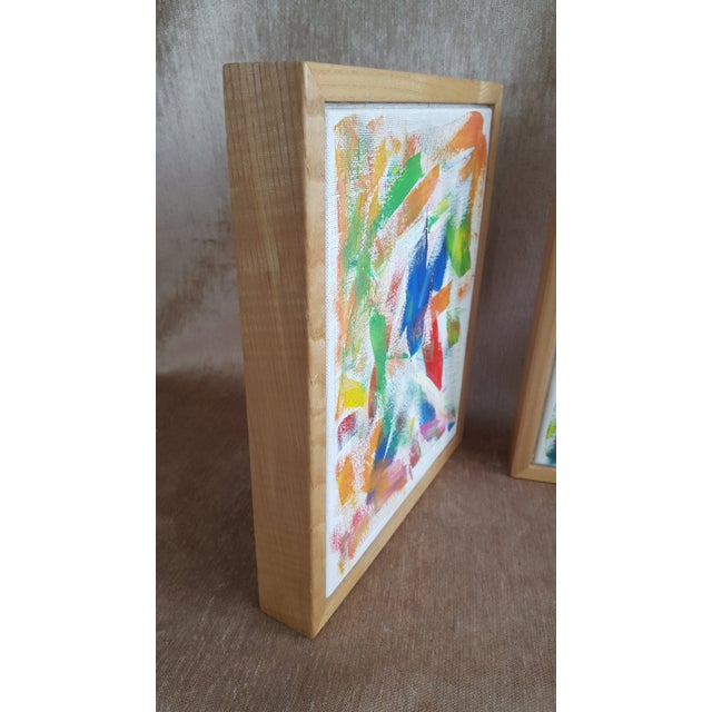 Acrylic Paint A Pair- Original Abstract Acrylic Paintings in Cubed Wooden Frames For Sale - Image 7 of 13