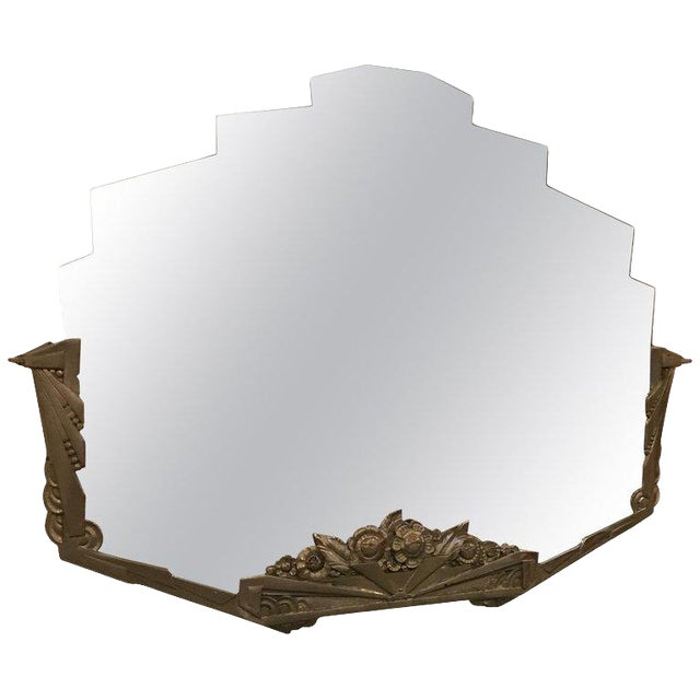 French Art Deco Geometric and Floral Wall Mirror With Skyscraper Motif For Sale