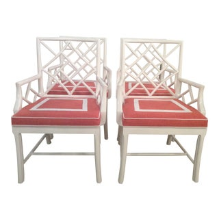 Vintage Palm Beach Cockpen Lacquered Arm Dining Chairs - Set of 4