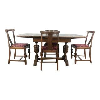 Vintage Carved & Upholstered Wood Dining Set