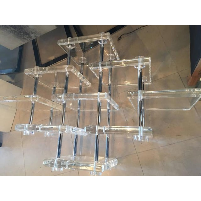 Hollywood Regency Lucite and Chrome Coffee Cocktail Table - Image 6 of 12
