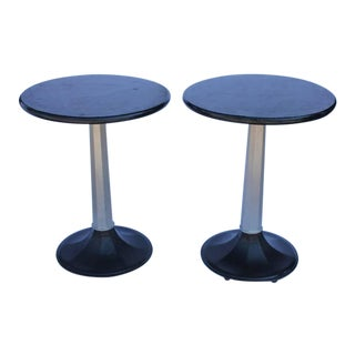 1930's Vintage Industrial Round Bistro Tables- A Pair For Sale
