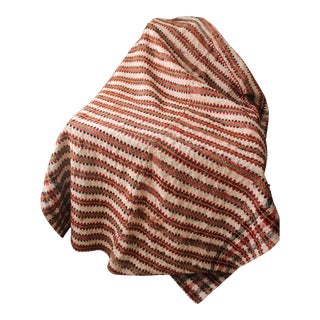 Vintage Plaid Hand Woven Wool & Linen Throw For Sale
