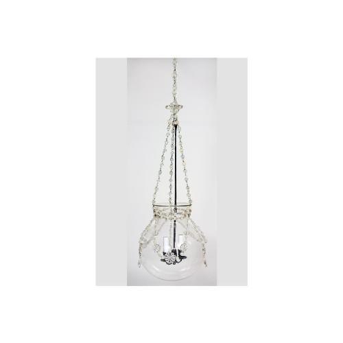 Art Nouveau Antique Genovese Crystal Bell Jar Hanging Lantern With Crystal Floral Detail For Sale - Image 3 of 3