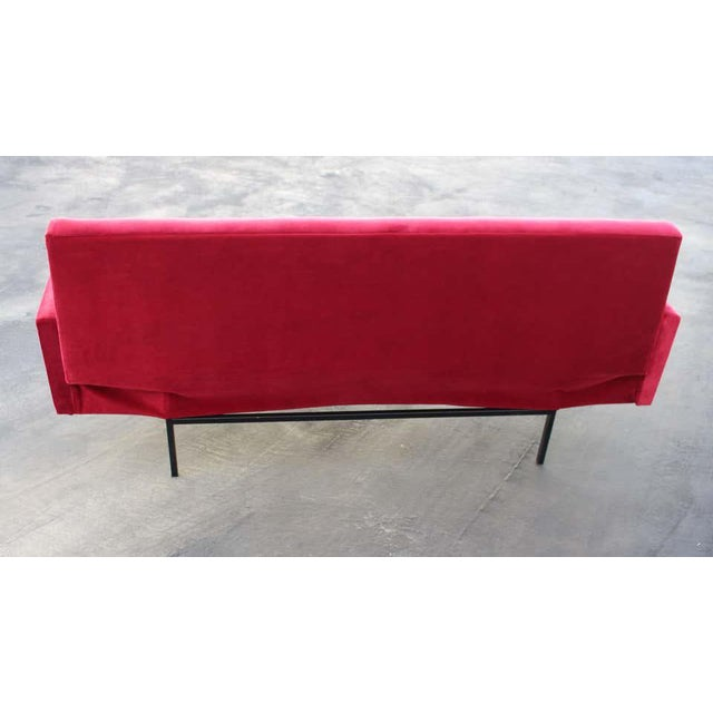 Italian Red Velvet Sofa For Sale - Image 4 of 7