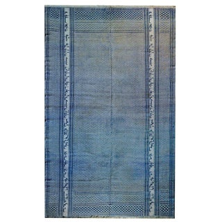 Gorgeous Vintage Blue and White Yadz Kilim Rug For Sale