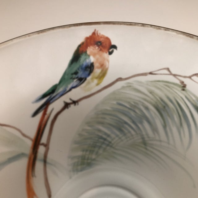 Hand Painted Parrots and Floral Glass Decorative Bowl For Sale - Image 4 of 8