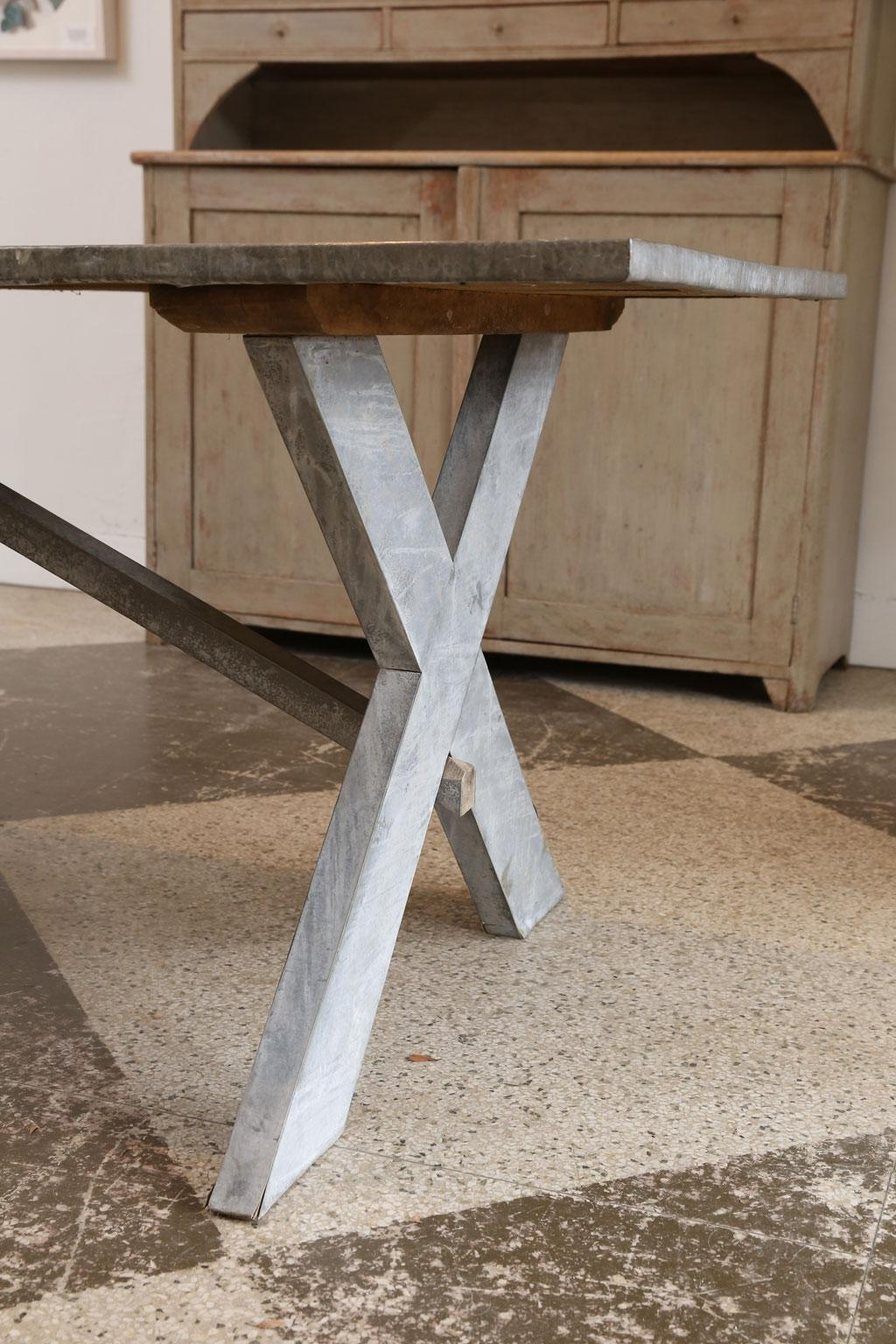 Late 20th Century Vintage Zinc Covered Table For Sale   Image 5 Of 8