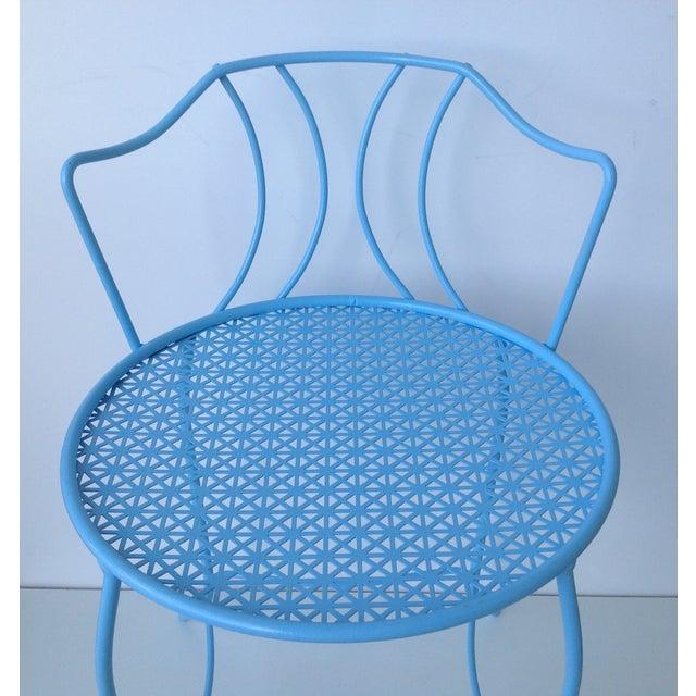 Mid-Century Blue Metal Vanity Stool For Sale - Image 11 of 11