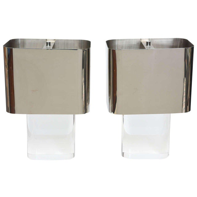 Silver American Modern Pair of Lucite and Polished Chrome Lamps, Karl Springer For Sale - Image 8 of 8