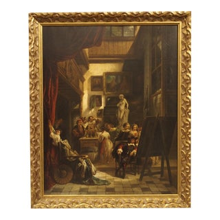 """Antique Oil on Board Painting, """"The Mayor of Amsterdam in Rembrandt's Studio"""" For Sale"""