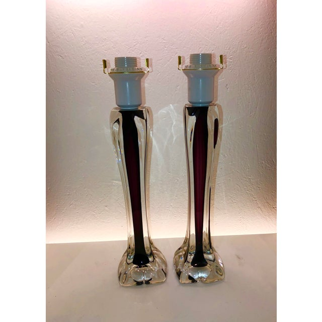 Swedish Flygsfors Double Encased Glass Lamps - a Pair For Sale - Image 9 of 9