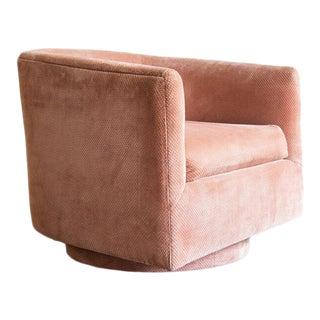 1960s Pink Velvet Swivel Chair For Sale