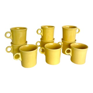 Contemporary Fiestaware Yellow Ceramic Mugs - Set of 9