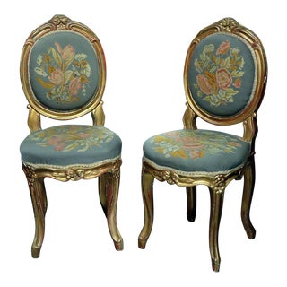 Vintage Louis XV Style Needlepoint Side Chairs - a Pair For Sale