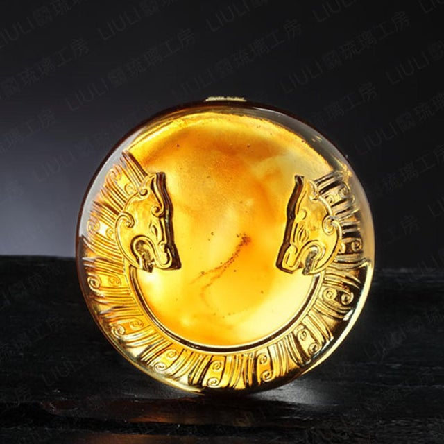 """2010s Crystal """"Tiger of the West: Independent"""" Limited Edition Mythical Creature Paperweight, Amber Purple Clear For Sale - Image 5 of 6"""