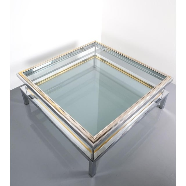 Refurbished Large Maison Jansen Brass and Chrome Vitrine Coffee Table, 1970 For Sale - Image 9 of 12