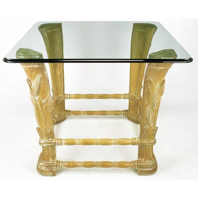 Limed Alder Center Table with Carved Wheat Relief and Glass Top - Image 2 of 10