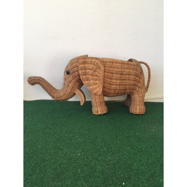 Wicker Elephant Planter For Sale - Image 9 of 9