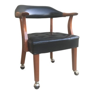 1960's Vintage Black Vinyl and Wood Rolling Chair