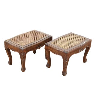 1940s French Provincial Carved Caned Footstools - a Pair