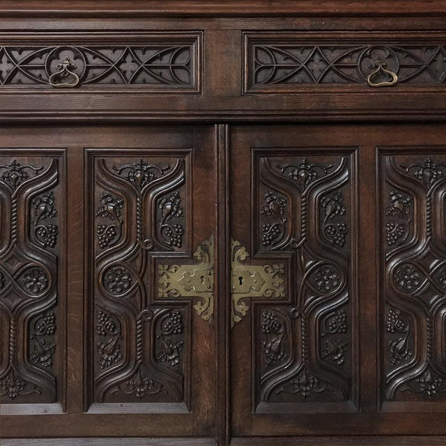 19th Century French Gothic Oak Buffet With Brass Hardware For Sale - Image 12 of 13