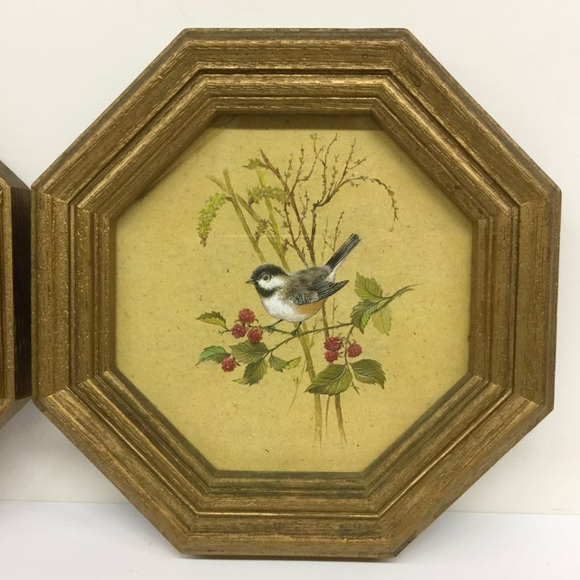 Mid-Century Modern Bird Prints Hexagon Framed - A Pair - Image 4 of 9