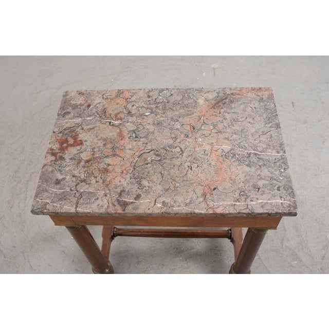 Empire Early 20th Century French Empire Mahogany Marble Top Table For Sale - Image 3 of 13