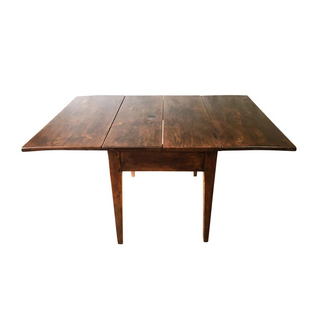 Brown Antique Hepplewhite Farmhouse Drop Leaf Table, Circa 1790-1820 For Sale - Image 8 of 11