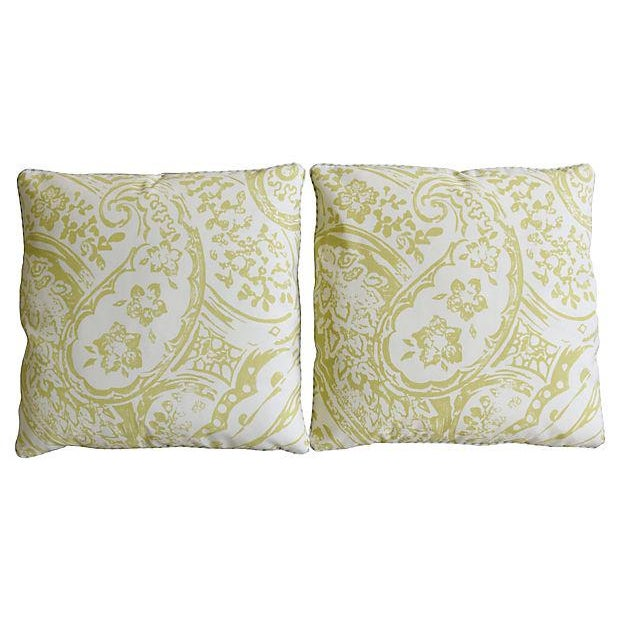 "Designer Lee Jofa Paisley & Mohair Feather/Down Pillows 21"" Square - Pair For Sale - Image 11 of 14"