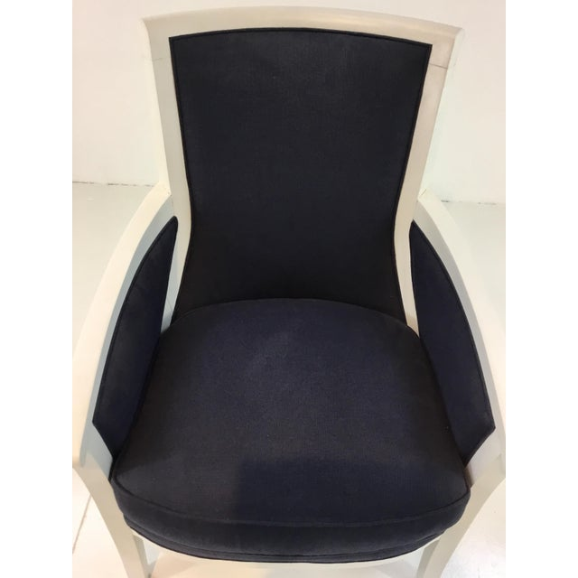 Stylish Transitional Navy and White Hickory Chair Breck Chair, linen blend fabric, showroom floor sample, original retail...