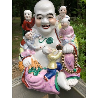 Vintage Large Colorful Statue of Jizo Sitting With Children Asian Folklore Character Revered for Kindness
