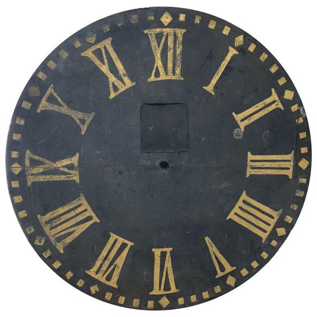 Metal Large Antique Clock Face For Sale - Image 7 of 7