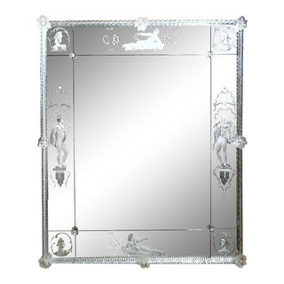 Swedish Modern Etched Glass Mirror For Sale