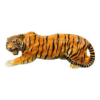 Midcentury Italian Terracotta Tiger Statue or Sculpture For Sale