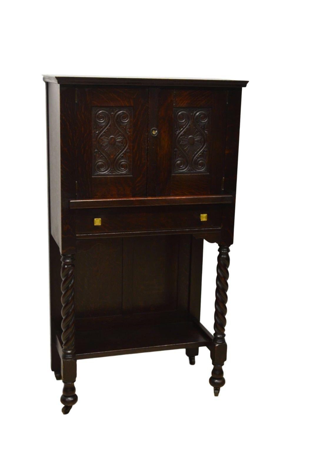 Genial Antique Mission Style Oak Liquor Cabinet For Sale   Image 11 Of 11