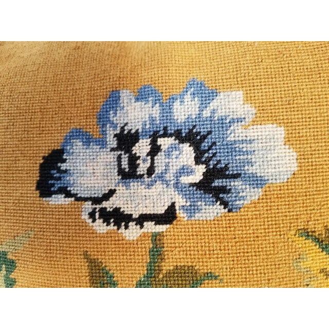 Feather Vintage Needlepoint Floral Pillows - a Pair For Sale - Image 7 of 11