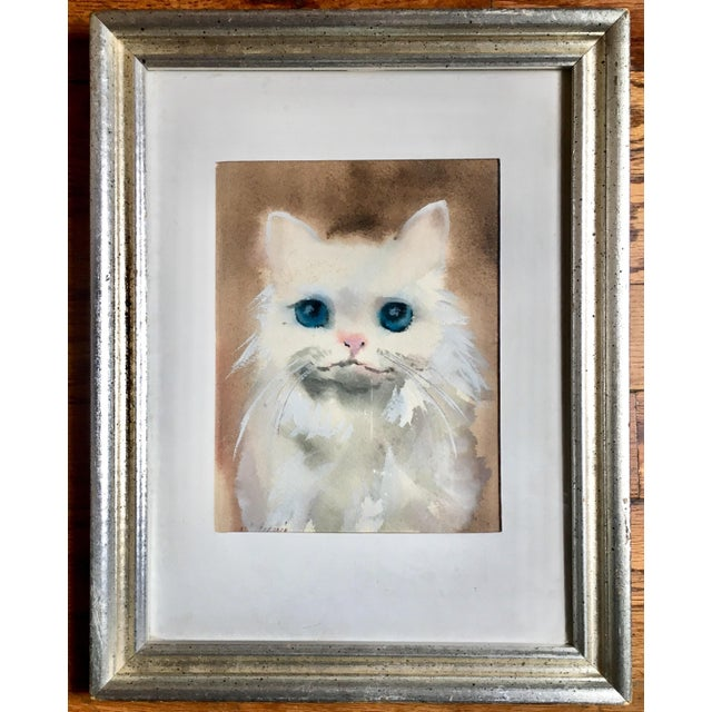 Blue Eyed Cat Watercolor Painting For Sale - Image 5 of 5