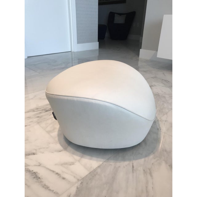Ultra luxe ottoman in custom white leather. From the Edito series designed by Sacha Lakic for Roche Bobois. Ottoman has...