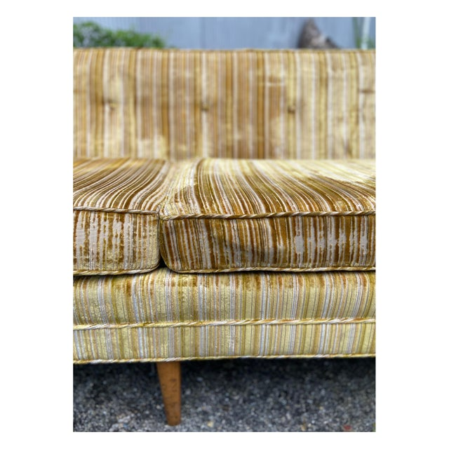 Mid 20th Century Mid-Century Modern Yellow Striped Variegated Velvet Sofa For Sale - Image 5 of 13