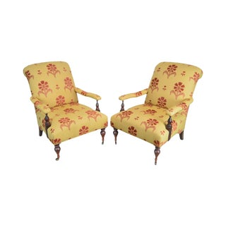 Baker Milling Road Collection Pair of French Cigar Reading Lounge Chairs For Sale