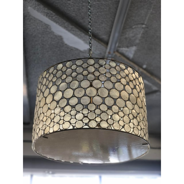 Gold Mid-Century Modern Style Capíz Shell Chandelier For Sale - Image 8 of 8