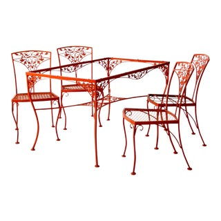 Vintage Orange Wrought Iron Patio Furniture - Set of 5