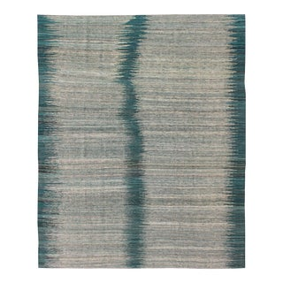Contemporary Afghan Kilim Teal & Grey Rug - 5′10″ × 7′9″ For Sale