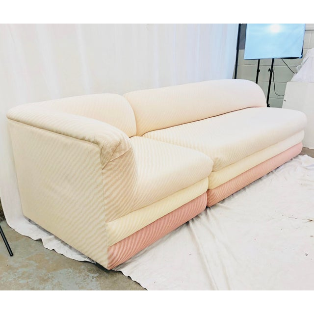 Stunning Vintage Mid Century Modern Art Deco Sectional Sofa with Fabulous Millennial Pink ( or strawberries & cream...