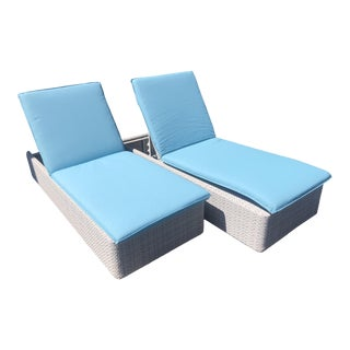 Set of 2 Dedon Lou Reclining Chaises W/ Turquoise Blue Cushions For Sale
