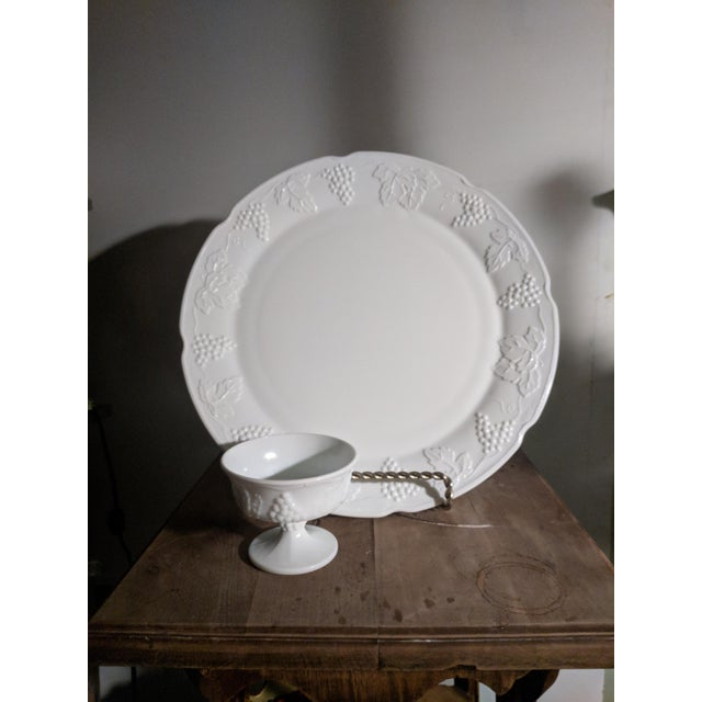 Vintage Milk Glass Serving Plate/Pedestal Dessert Dish With Grapevine Pattern For Sale - Image 12 of 13